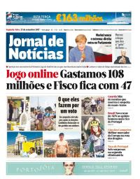 capa Jornal de Notícias de 25 setembro 2017