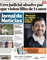 capa Jornal de Notícias de 27 maio 2018
