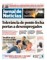 capa Jornal de Notícias de 27 dezembro 2017