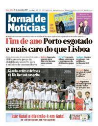 capa Jornal de Notícias de 29 dezembro 2017