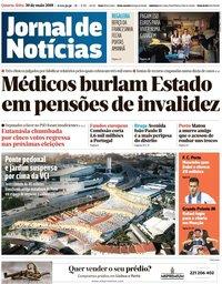 capa Jornal de Notícias de 30 maio 2018