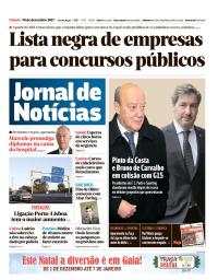 capa Jornal de Notícias de 30 dezembro 2017