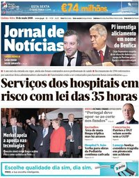 capa Jornal de Notícias de 31 maio 2018