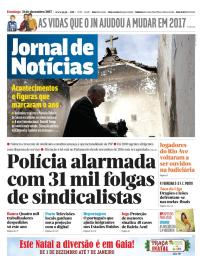 capa Jornal de Notícias de 31 dezembro 2017
