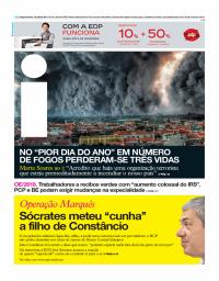 capa Jornal i de 16 outubro 2017