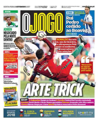 capa Jornal O Jogo de 1 setembro 2017