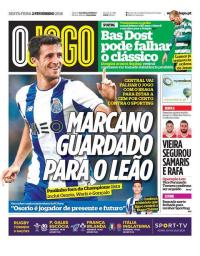 capa Jornal O Jogo de 2 fevereiro 2018