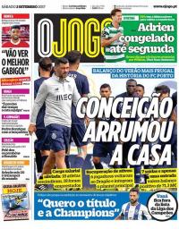 capa Jornal O Jogo de 2 setembro 2017