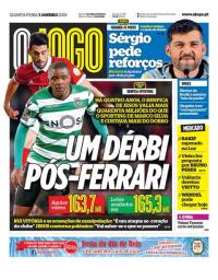 capa Jornal O Jogo de 3 janeiro 2018