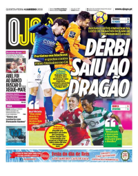 capa Jornal O Jogo de 4 janeiro 2018