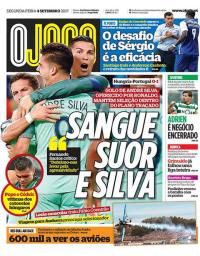 capa Jornal O Jogo de 4 setembro 2017