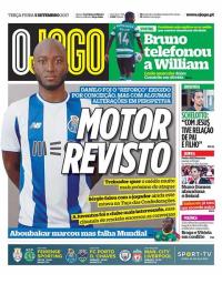 capa Jornal O Jogo de 5 setembro 2017