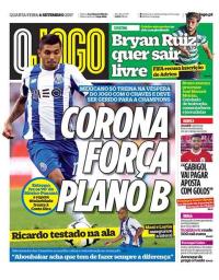 capa Jornal O Jogo de 6 setembro 2017