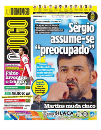 capa Jornal O Jogo de 7 janeiro 2018