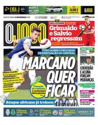 capa Jornal O Jogo de 8 setembro 2017