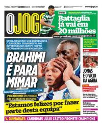 capa Jornal O Jogo de 9 janeiro 2018