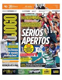 capa Jornal O Jogo de 9 setembro 2017