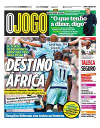 capa Jornal O Jogo de 10 janeiro 2018