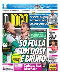 capa Jornal O Jogo de 11 janeiro 2018