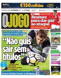 capa Jornal O Jogo de 11 setembro 2017