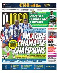 capa Jornal O Jogo de 12 setembro 2017