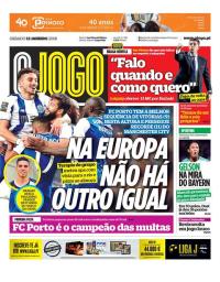 capa Jornal O Jogo de 13 janeiro 2018