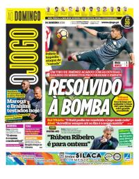 capa Jornal O Jogo de 14 janeiro 2018
