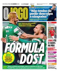 capa Jornal O Jogo de 15 janeiro 2018