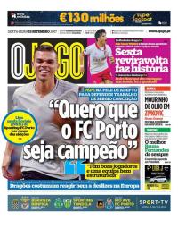 capa Jornal O Jogo de 15 setembro 2017