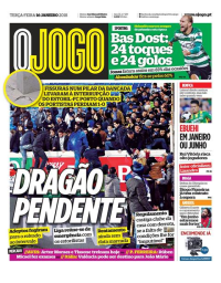 capa Jornal O Jogo de 16 janeiro 2018