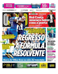 capa Jornal O Jogo de 16 setembro 2017