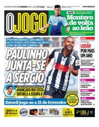 capa Jornal O Jogo de 17 janeiro 2018
