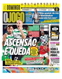capa Jornal O Jogo de 17 setembro 2017