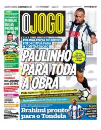 capa Jornal O Jogo de 18 janeiro 2018