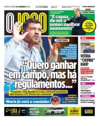 capa Jornal O Jogo de 19 janeiro 2018