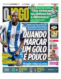 capa Jornal O Jogo de 19 setembro 2017
