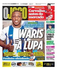 capa Jornal O Jogo de 22 janeiro 2018