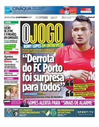 capa Jornal O Jogo de 22 setembro 2017