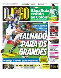 capa Jornal O Jogo de 23 janeiro 2018