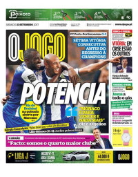 capa Jornal O Jogo de 23 setembro 2017