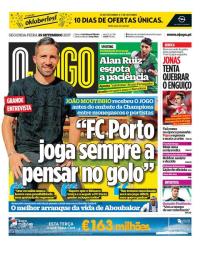 capa Jornal O Jogo de 25 setembro 2017