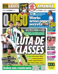 capa Jornal O Jogo de 27 janeiro 2018