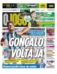 capa Jornal O Jogo de 29 janeiro 2018