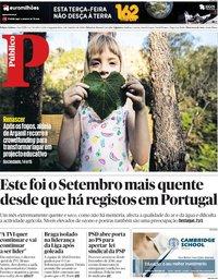 capa Público de 1 outubro 2018