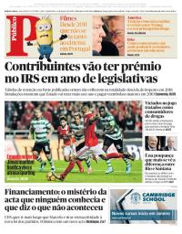 capa Público de 4 janeiro 2018