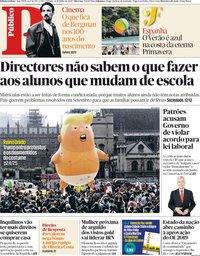 capa Público de 14 julho 2018