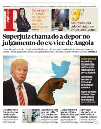 capa Público de 20 janeiro 2018