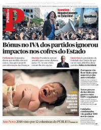 capa Público de 29 dezembro 2017