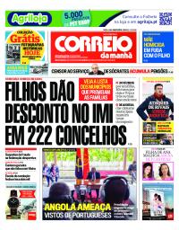 capa Correio da Manhã de 9 janeiro 2018