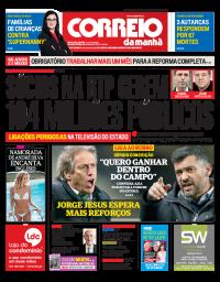 capa Correio da Manhã de 19 janeiro 2018